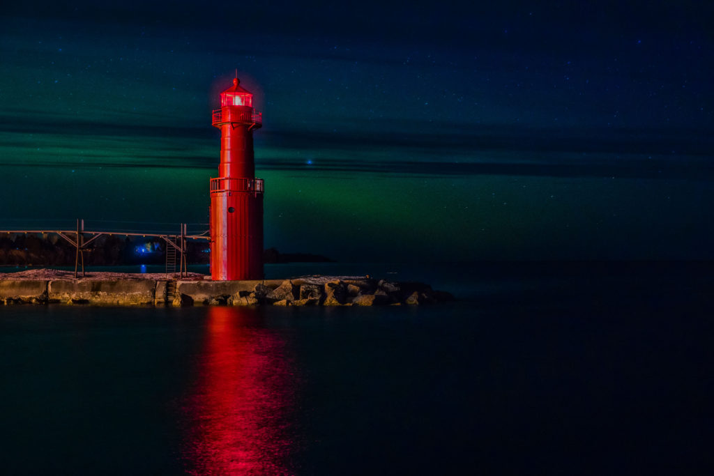 Algoma Lighthouse Aurora Borealis