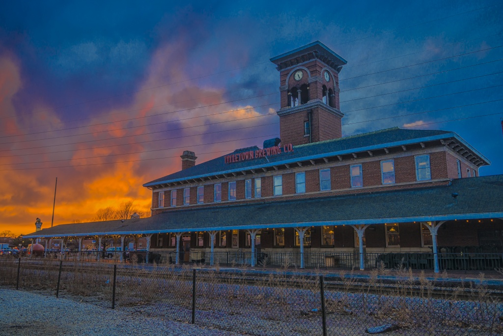 Green Bay, Wisconsin Titletown Brewery at sunset.